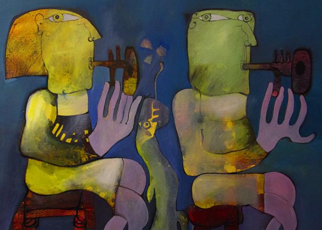 Gigi Pedroli, dipinto olio su carta